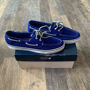 Cobalt Blue Suede Sperry Boat Shoes